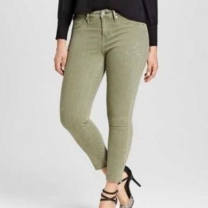 Mossimo Green High Rise Jegging Crop Jeans 18/34
